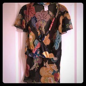 Allen by ABS sheer v-neck floral blouse w/ tieback